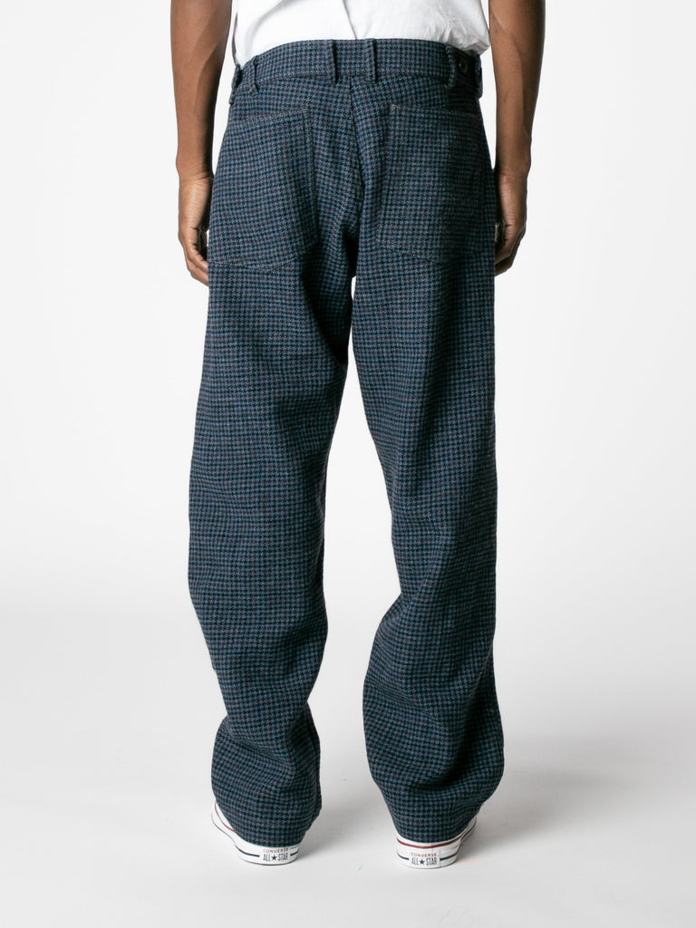 Blue Houndstooth Wool Trousers 513570101968973