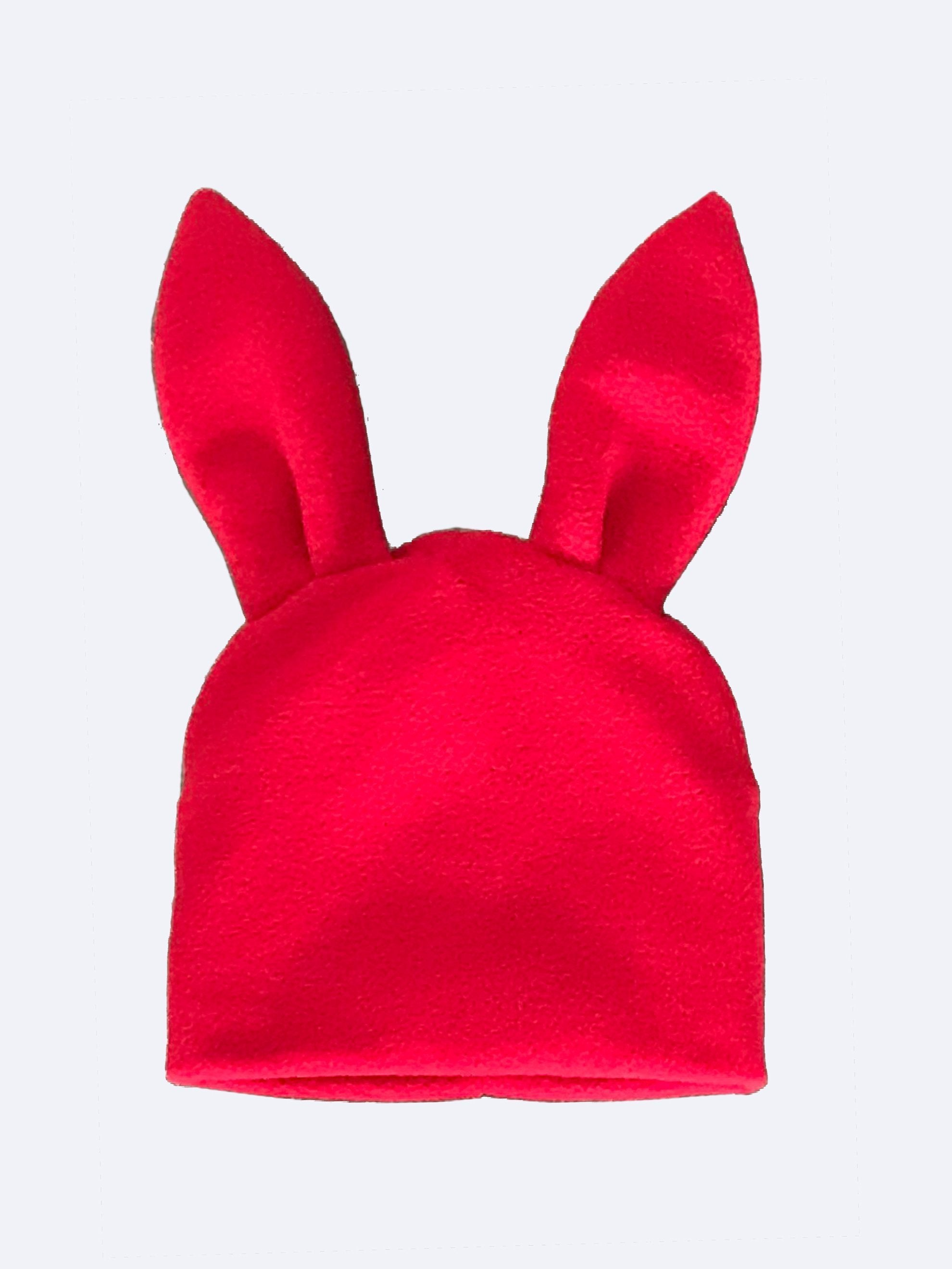 Red Bunny Ears Woven Beanie 3