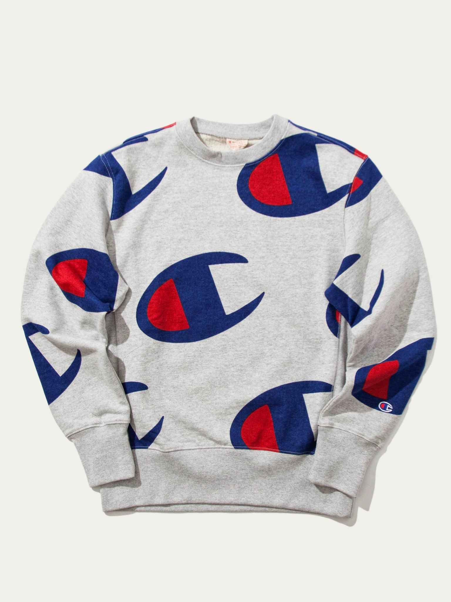 Grey All Over Oversized Champion Logo Print Crew Sweat 1