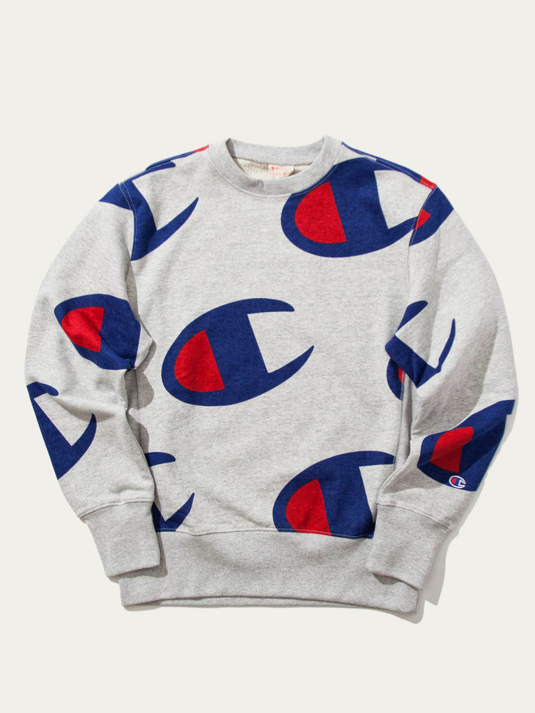 All Over Oversized Champion Logo Print Crew Sweat