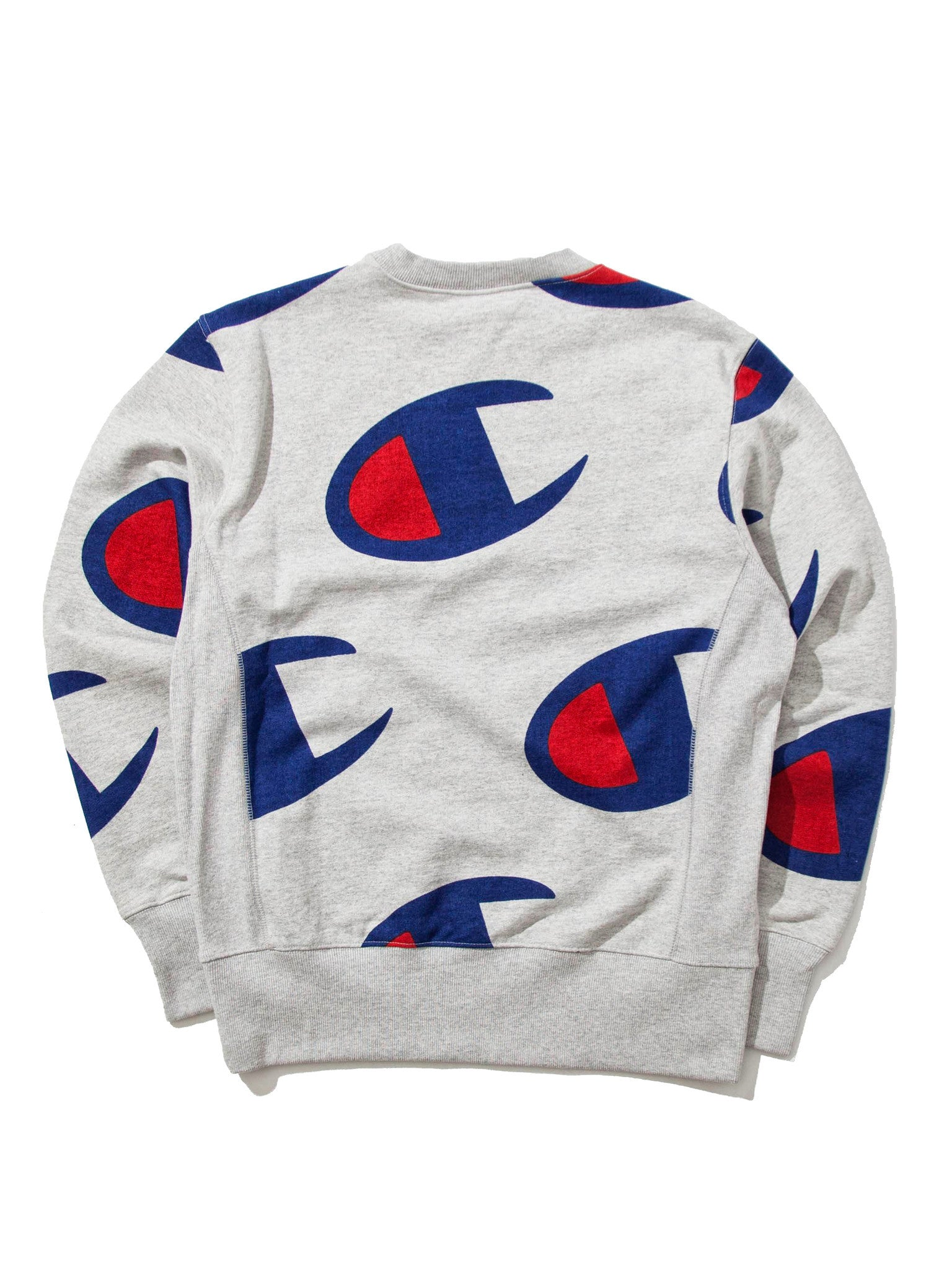 Grey All Over Oversized Champion Logo Print Crew Sweat 4