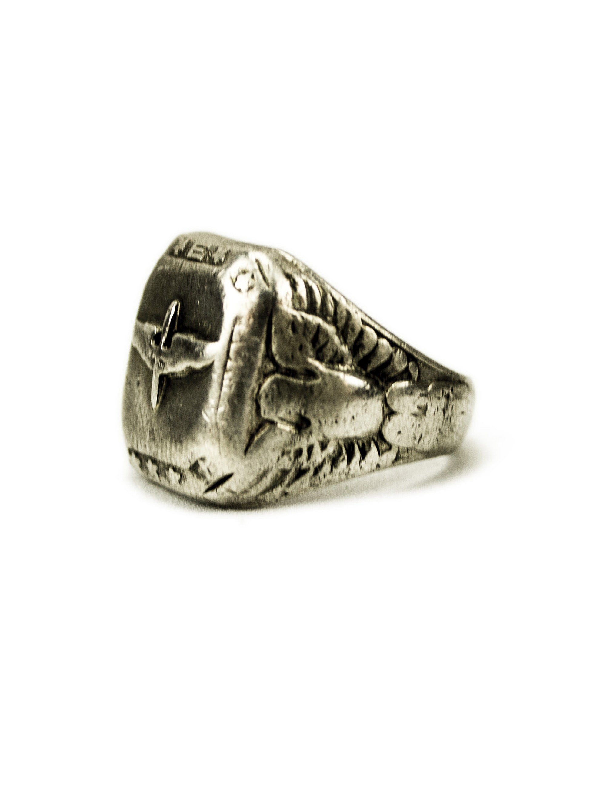 10.5 Vintage WWII Sterling Silver Caduceus Ring 2