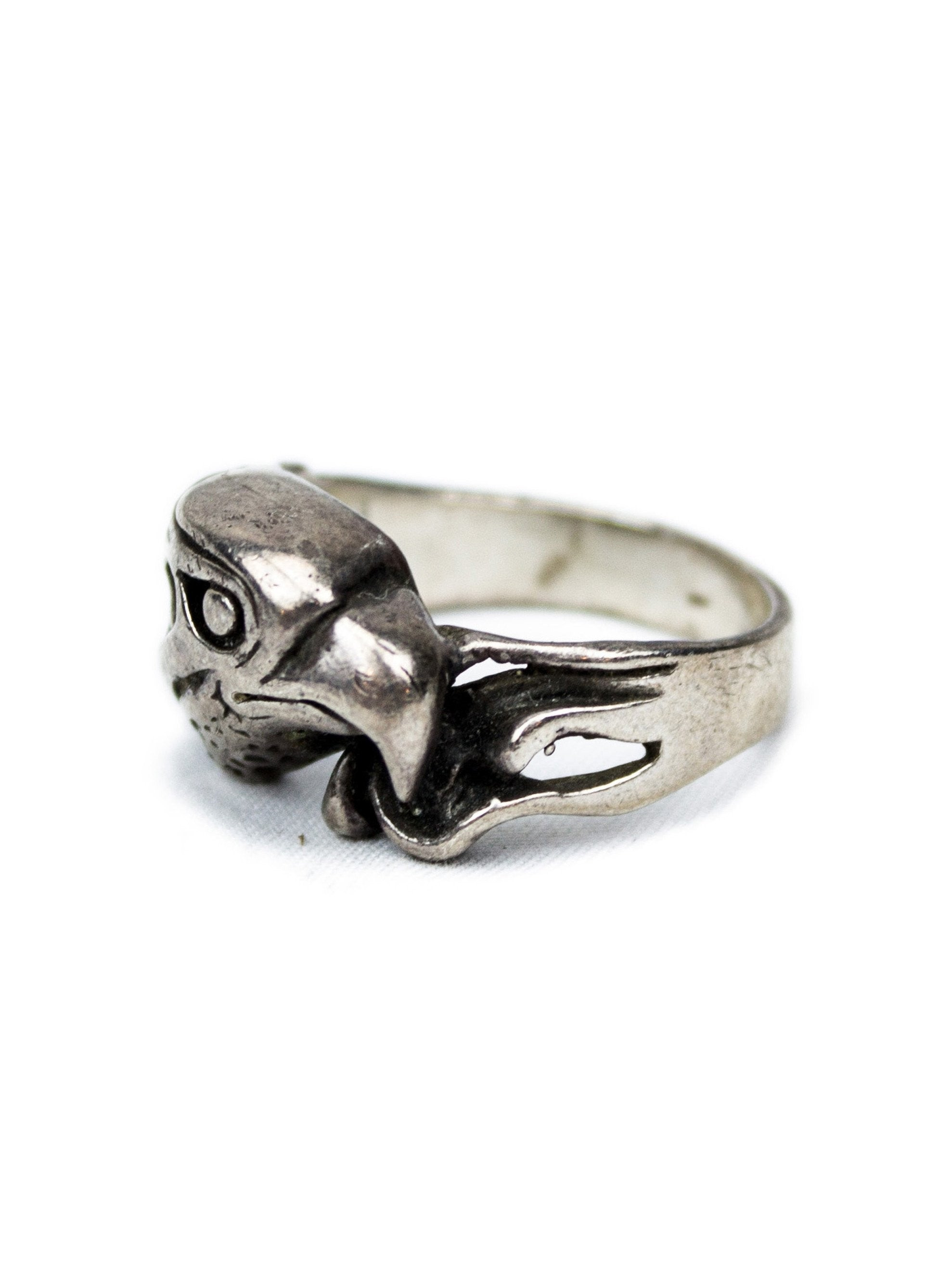 10 Vintage 1960's Sterling Silver Eagle Biker Ring 3