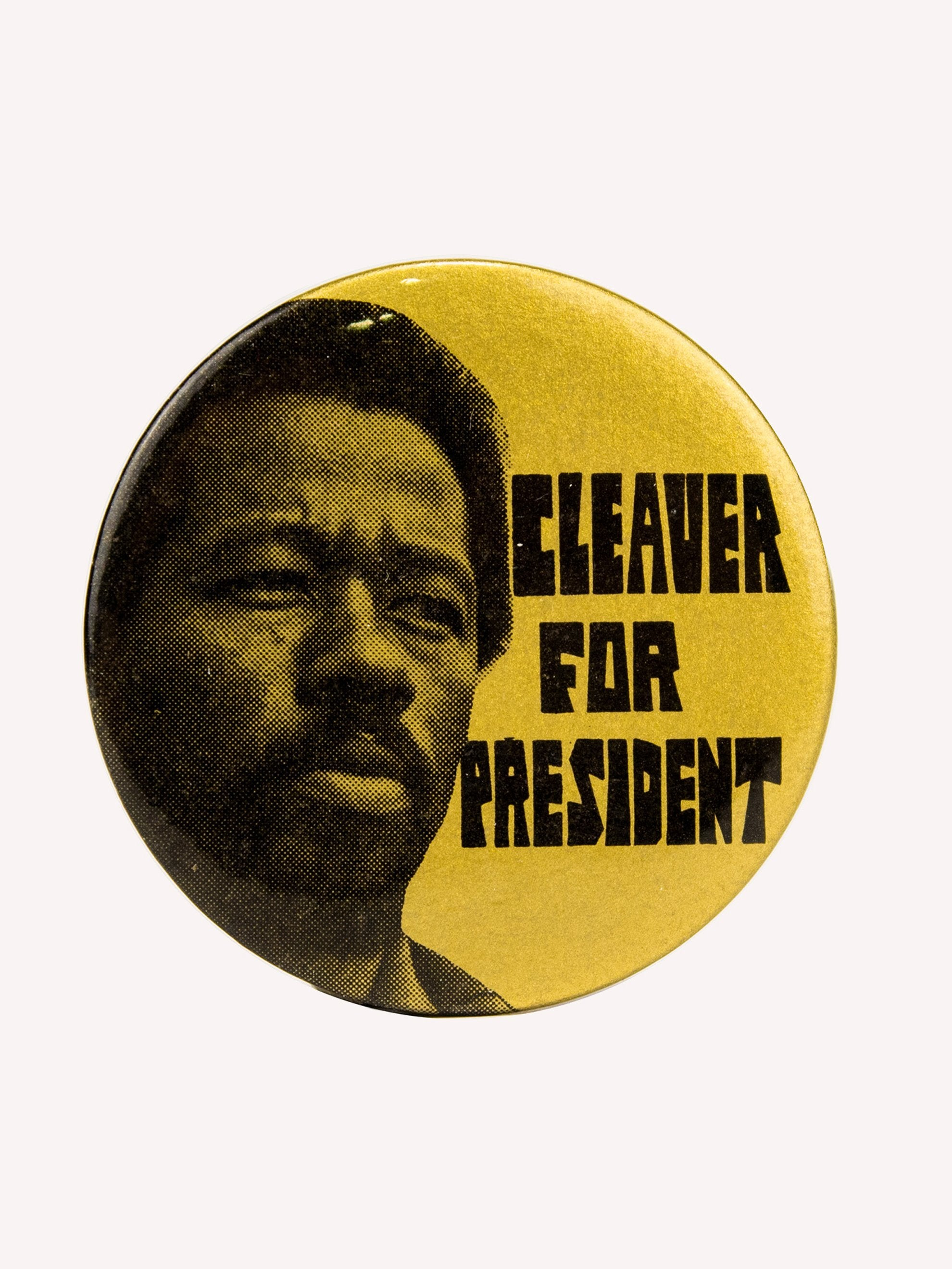 "Yellow Vintage 1970's Activist Protest Pin ""Cleaver for President"" 1"