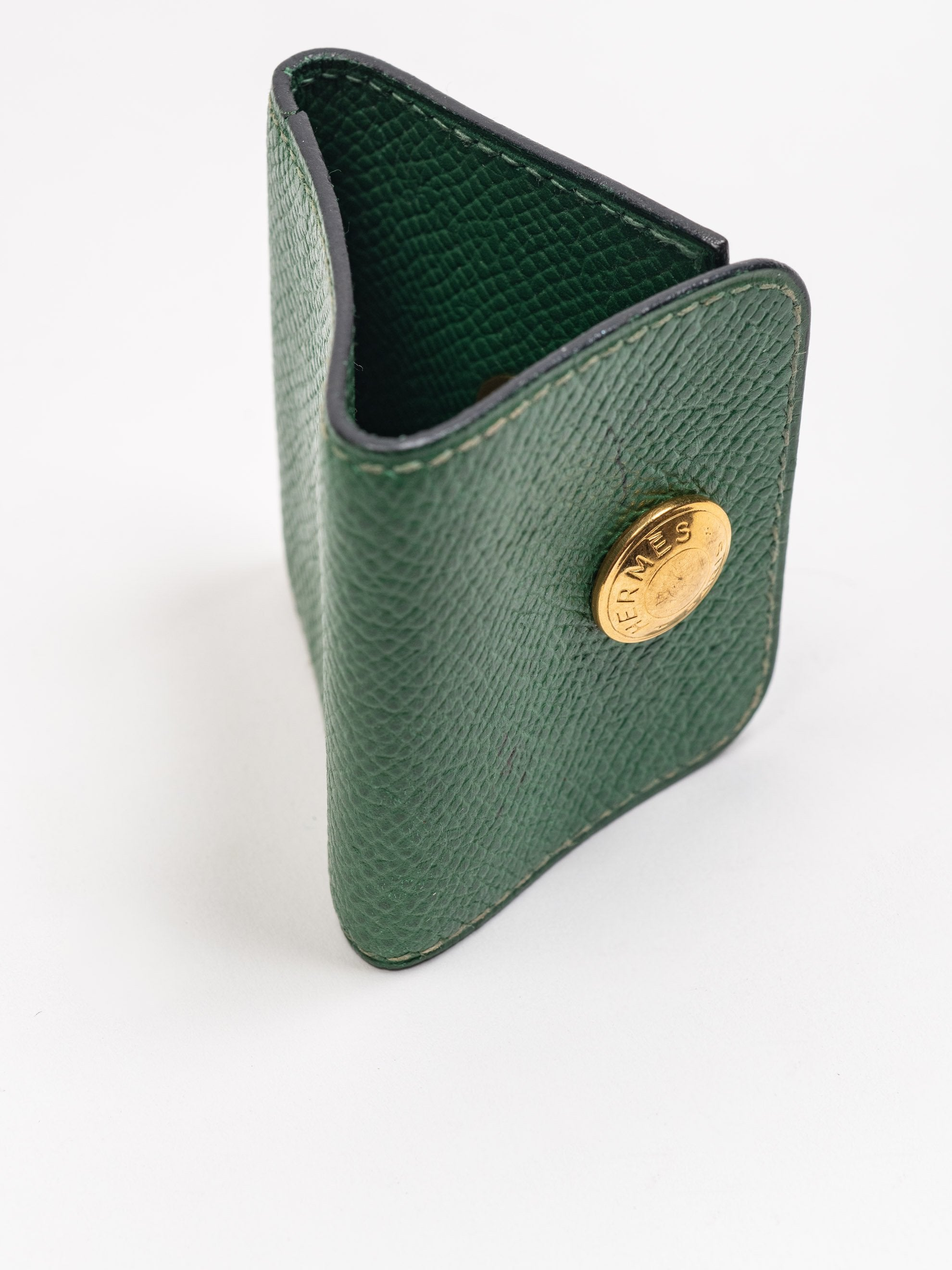 Green Vintage Leather Hermes Mini Coin Pouch 6