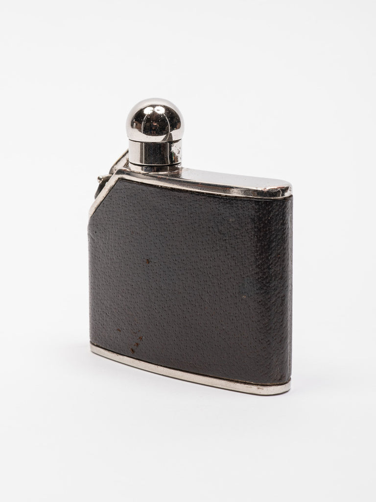 Black Rare Vintage 1970's Gucci Leather Covered Stainless Steel Flask 213570067857485