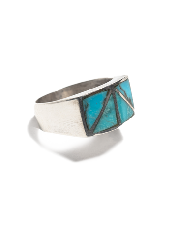 Vintage Navajo Heavy Gauge Sterling Silver Ring with inset sterling chanels and inlayed turquoise