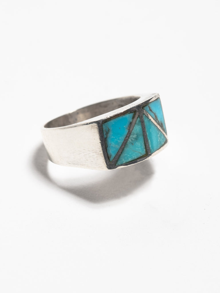 Sterling Silver Vintage Navajo Heavy Gauge Sterling Silver Ring with inset sterling chanels and inlayed turquoise 213570071035981