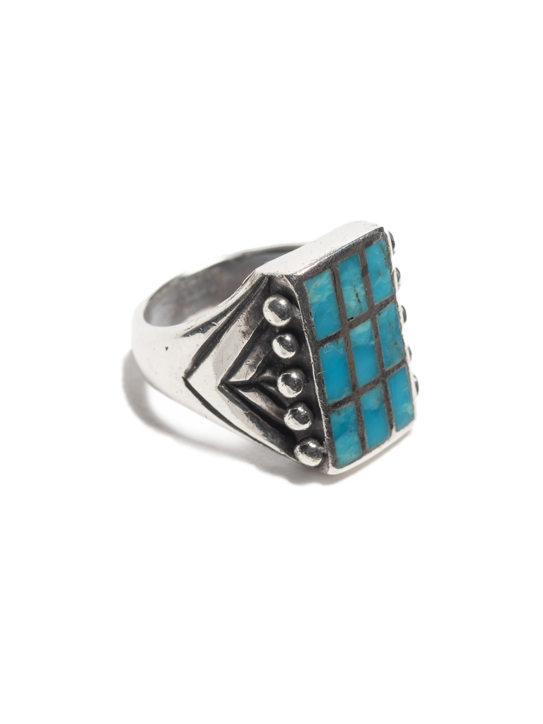 Vintage Sterling Silver Navajo Ring with inlayed turquoise, silver beads & hand stamped