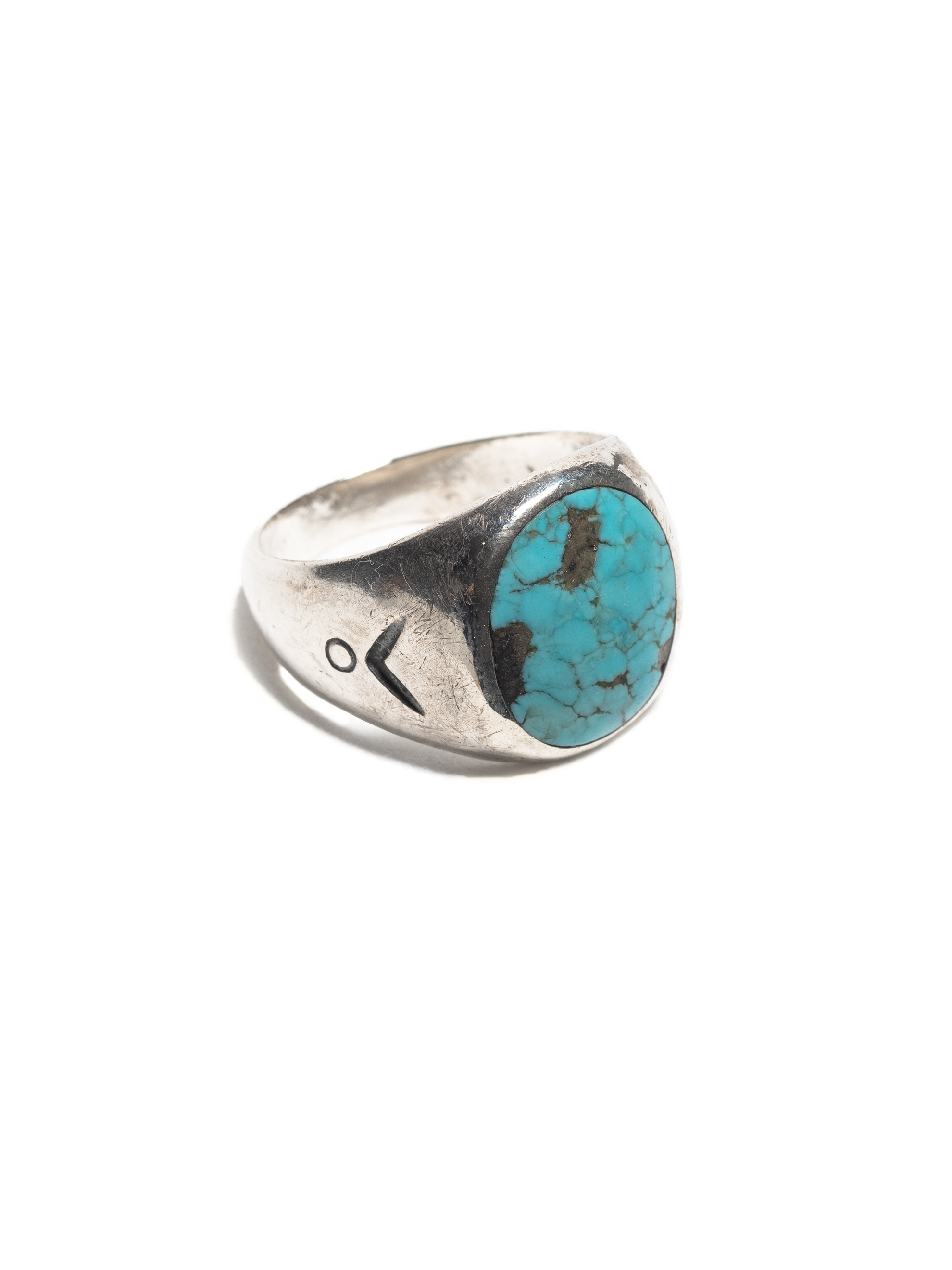 Sterling Silver Vintage Navajo Sterling Men's Ring with hand stamped design & inset turquoise stone 1