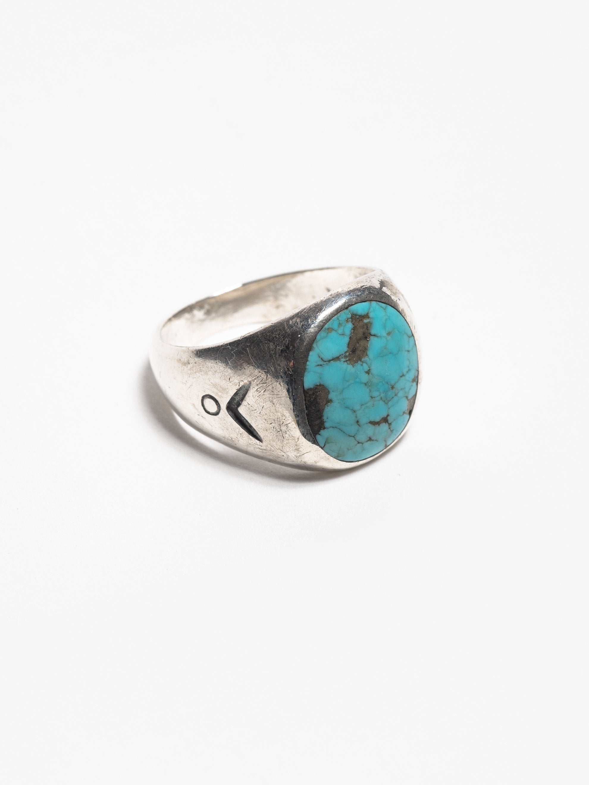 Sterling Silver Vintage Navajo Sterling Men's Ring with hand stamped design & inset turquoise stone 2
