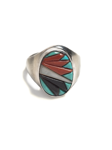 Vintage Zuni Sterling Silver men's ring with inlayed turquoise, coral, jet, and mop