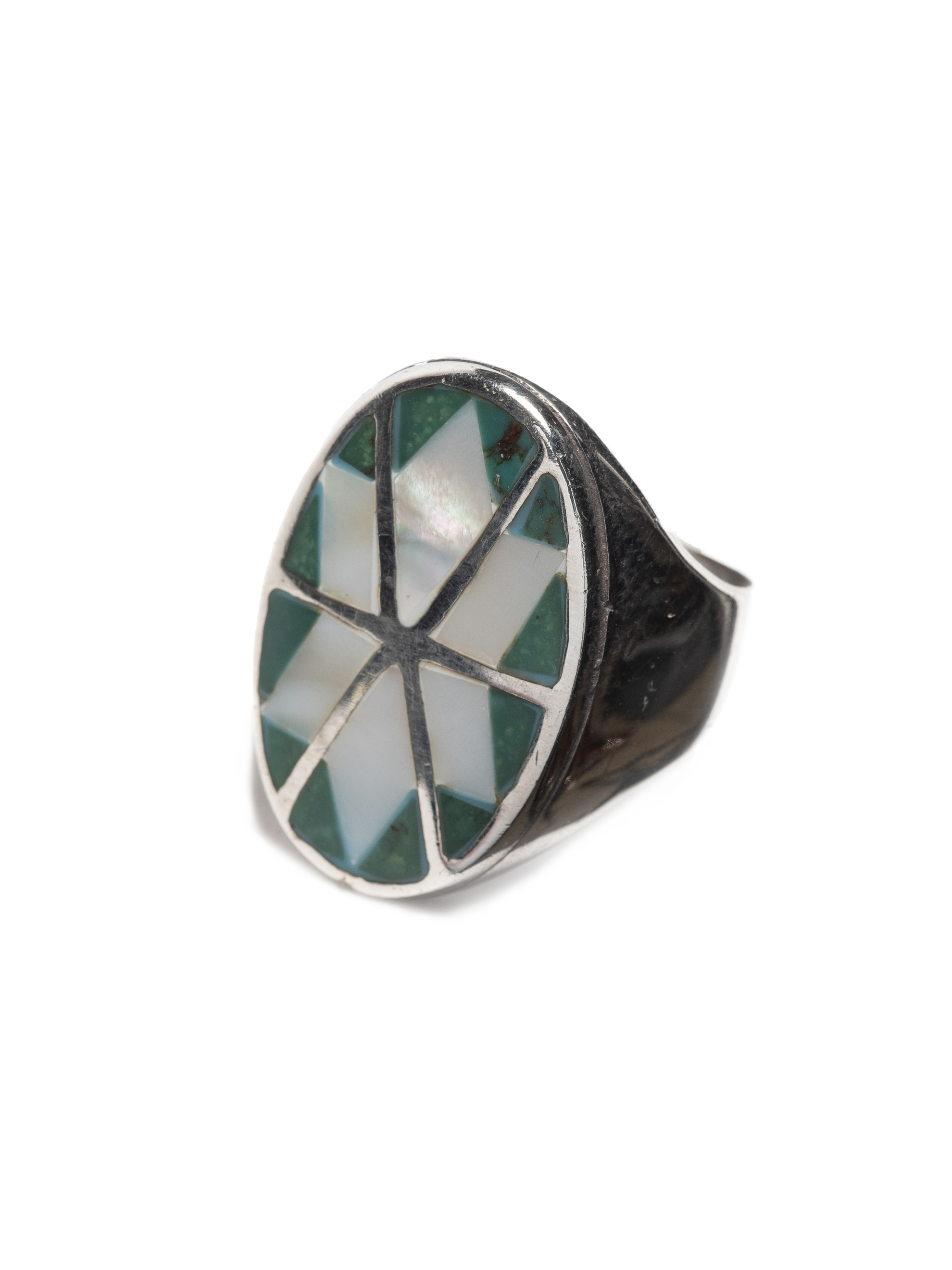 Sterling Silver Vintage Modern Sterling Silver men's ring with inlayed mother of pearl & turquoise 1