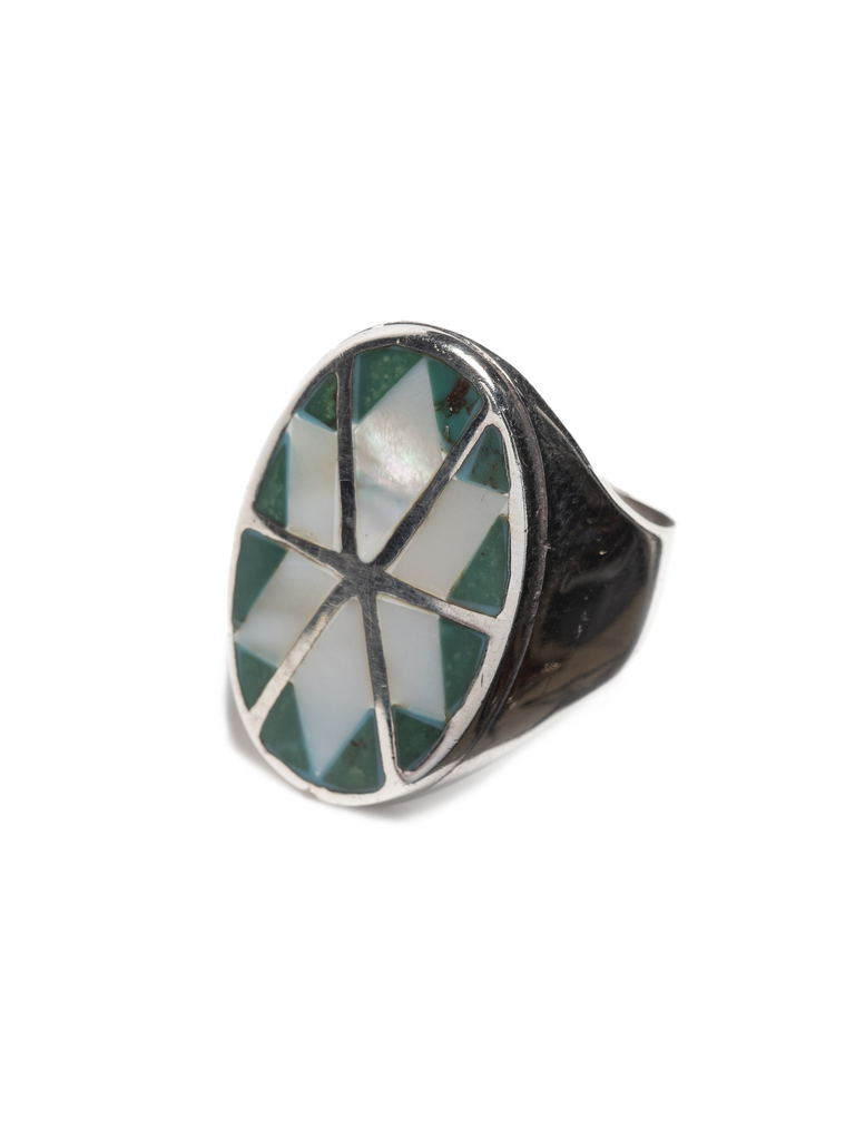 Vintage Modern Sterling Silver men's ring with inlayed mother of pearl & turquoise
