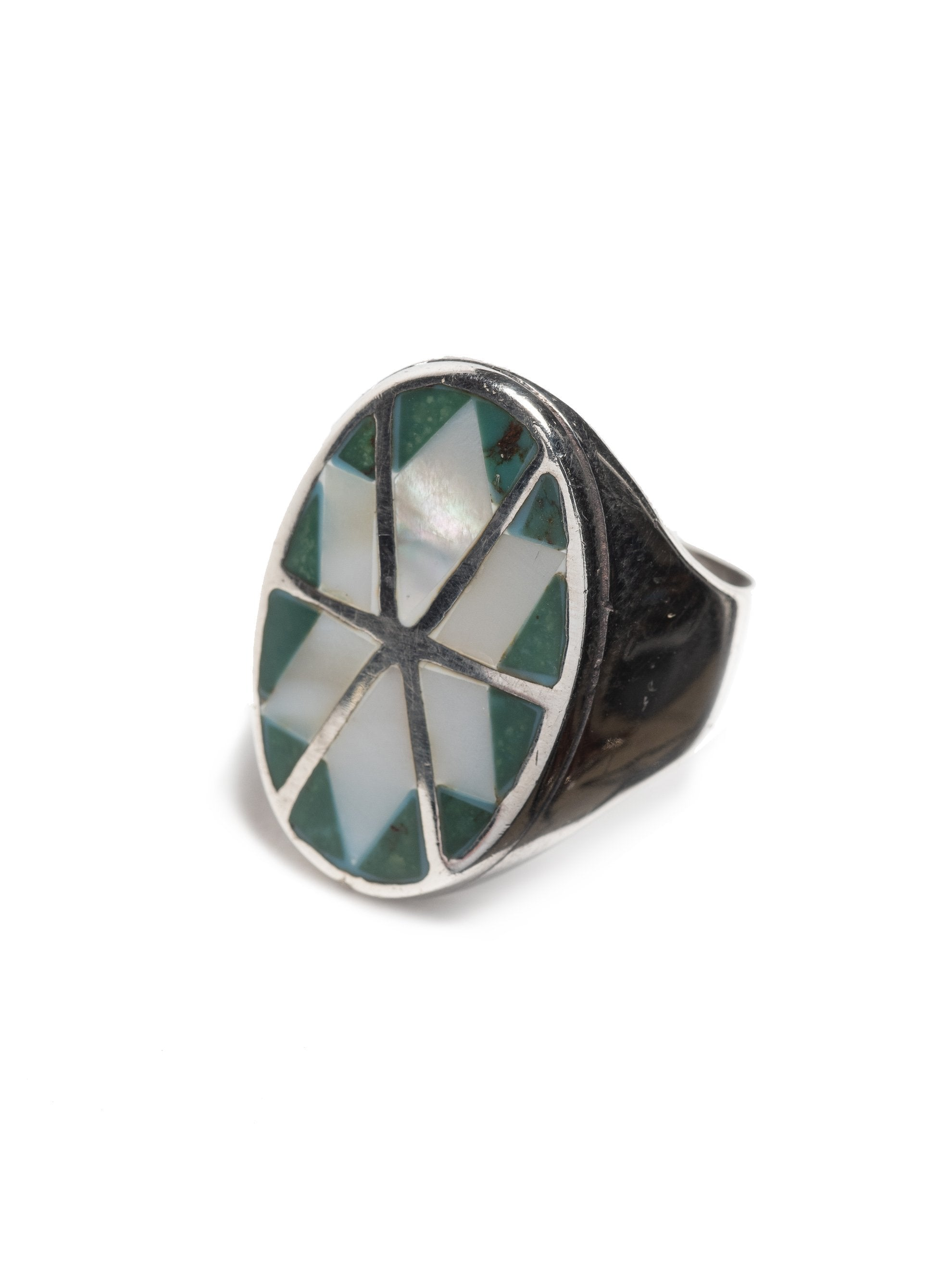 Sterling Silver Vintage Modern Sterling Silver men's ring with inlayed mother of pearl & turquoise 2
