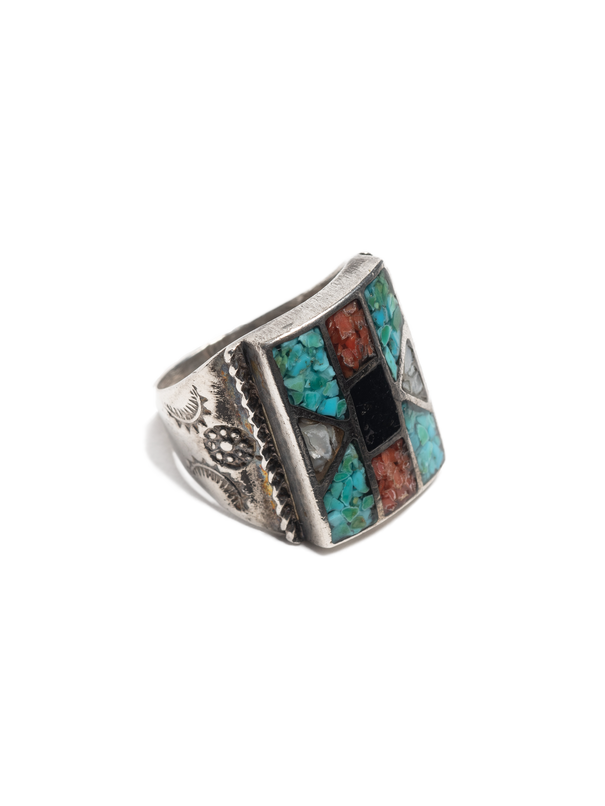 Sterling Silver Vintage Zuni Sterling Silver Ring with chipped turquoise, coral, jet & mop inlay 1