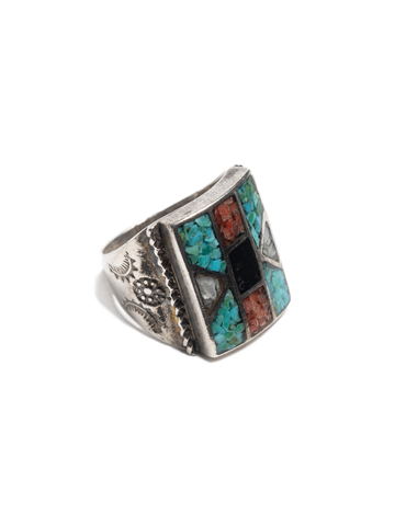 Vintage Zuni Sterling Silver Ring with chipped turquoise, coral, jet & mop inlay