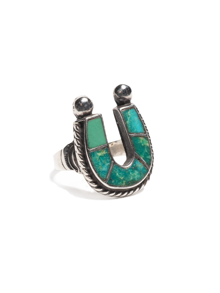 Vintage 1950's Navajo Sterling Silver & Turquoise lucky horse- shoe ring