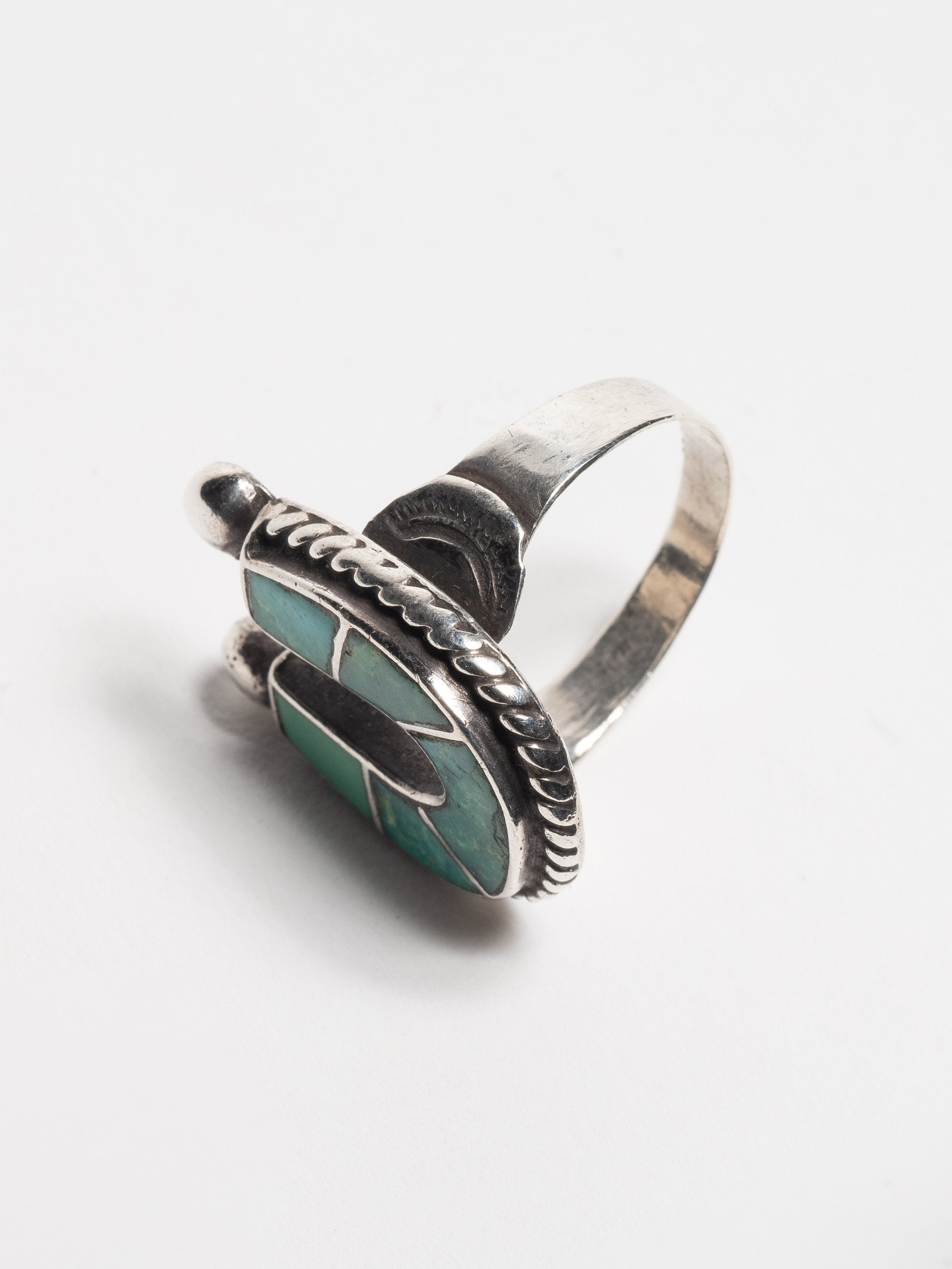 Sterling Silver Vintage 1950's Navajo Sterling Silver & Turquoise lucky horse- shoe ring 3