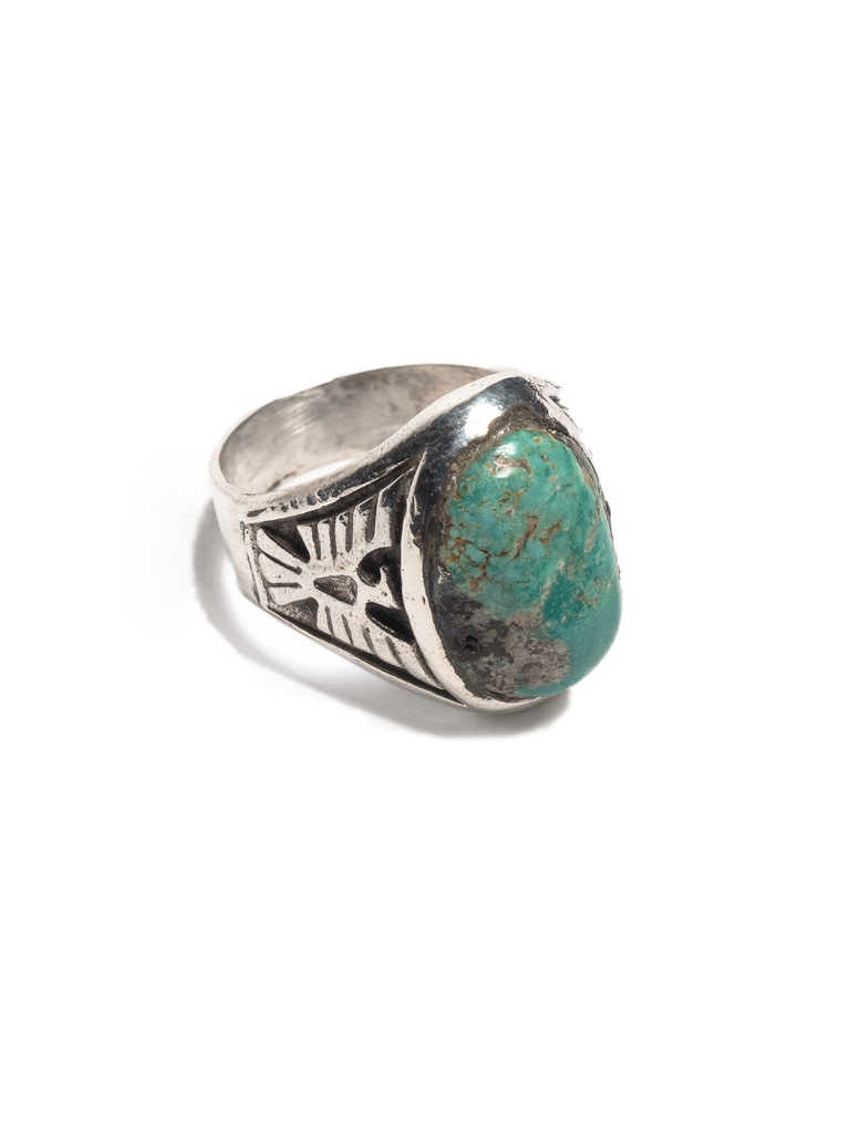 Vintage 1950's Navajo Sterling Silver Men's Ring with inset cast thunderbirds and early Morenci turquoise stone