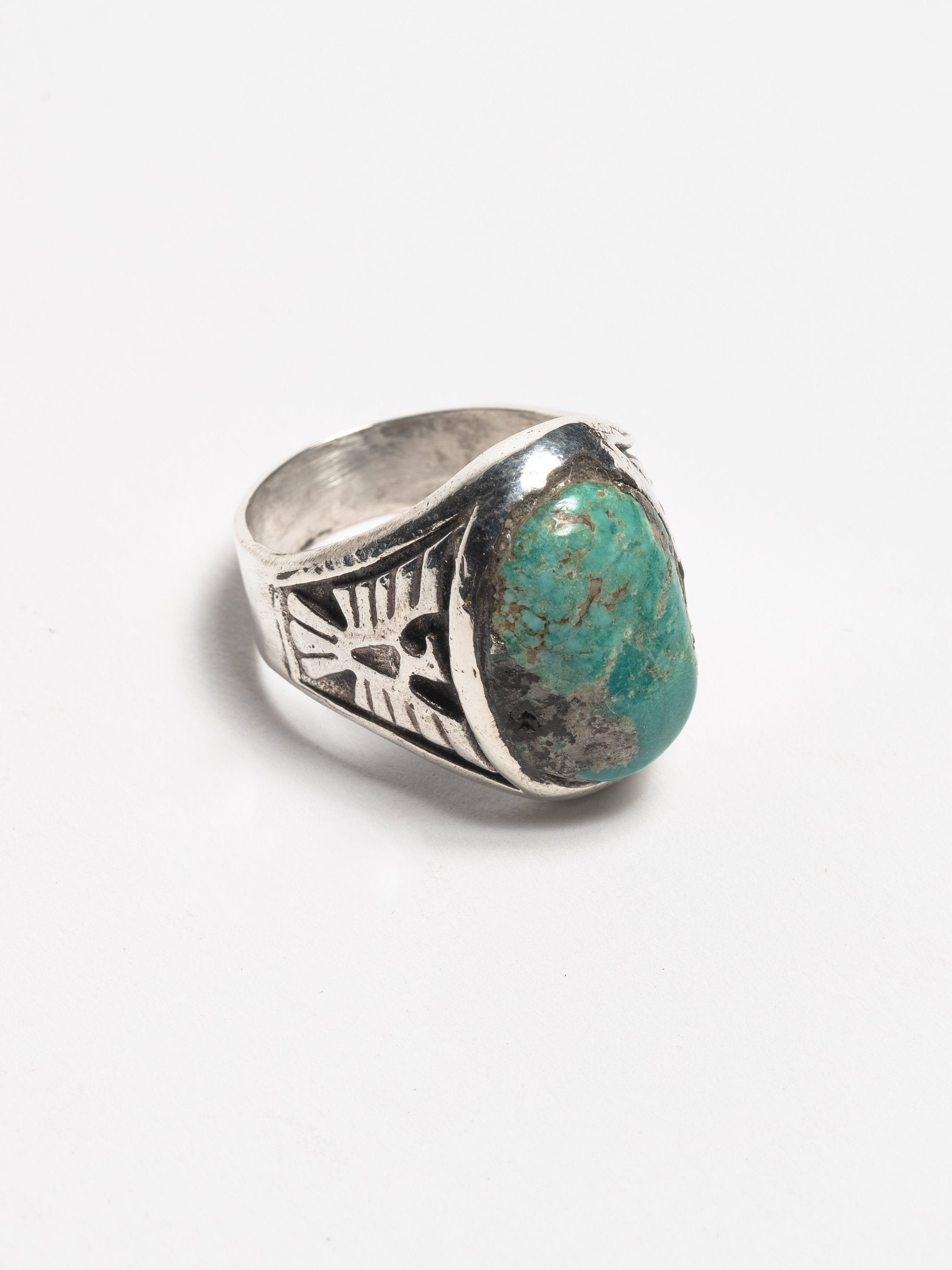 Sterling Silver Vintage 1950's Navajo Sterling Silver Men's Ring with inset cast thunderbirds and early Morenci turquoise stone 2