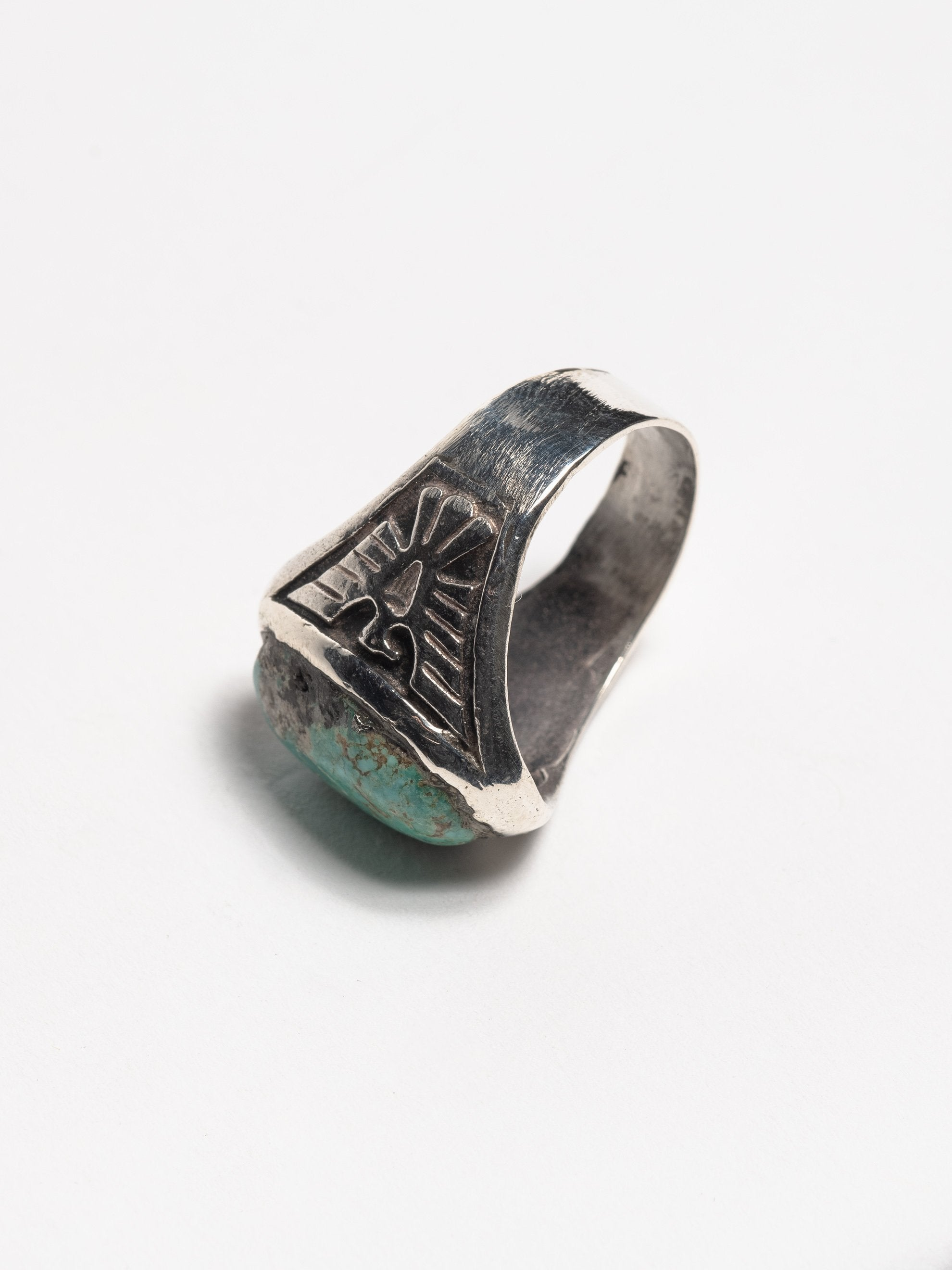 Sterling Silver Vintage 1950's Navajo Sterling Silver Men's Ring with inset cast thunderbirds and early Morenci turquoise stone 3