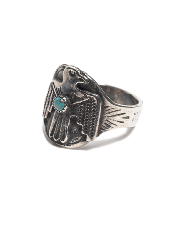 Vintage Sterling Silver Navajo Thunderbird Ring with stamped arrow design