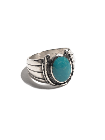 Vintage Navajo Sterling Silver Men's Ring with inset sterling horseshoe and turquoise stone.