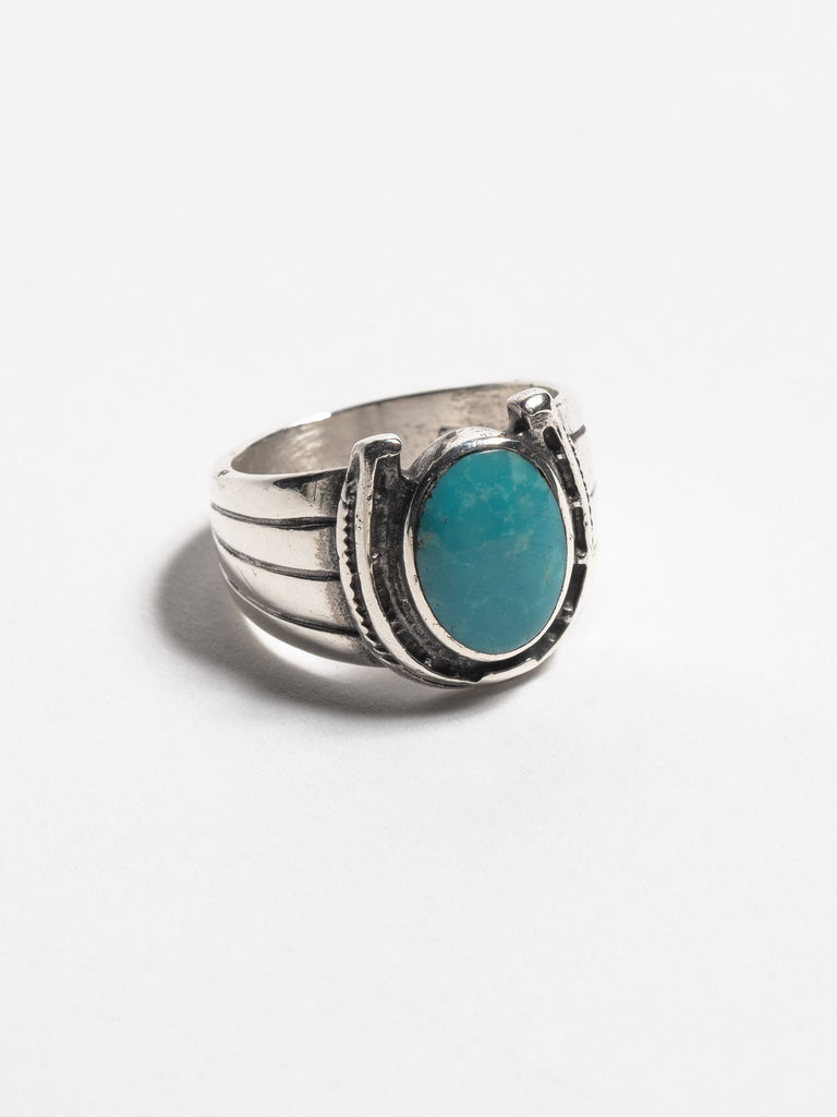 Sterling Silver Vintage Navajo Sterling Silver Men's Ring with inset sterling horseshoe and turquoise stone. 213566283645005