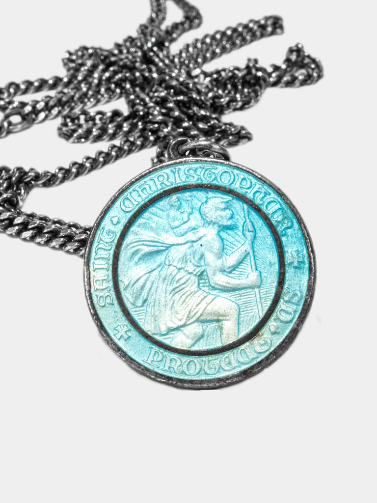 Vintage 1950's Double-Sided Sterling Silver Surfer Saint Christopher Necklace