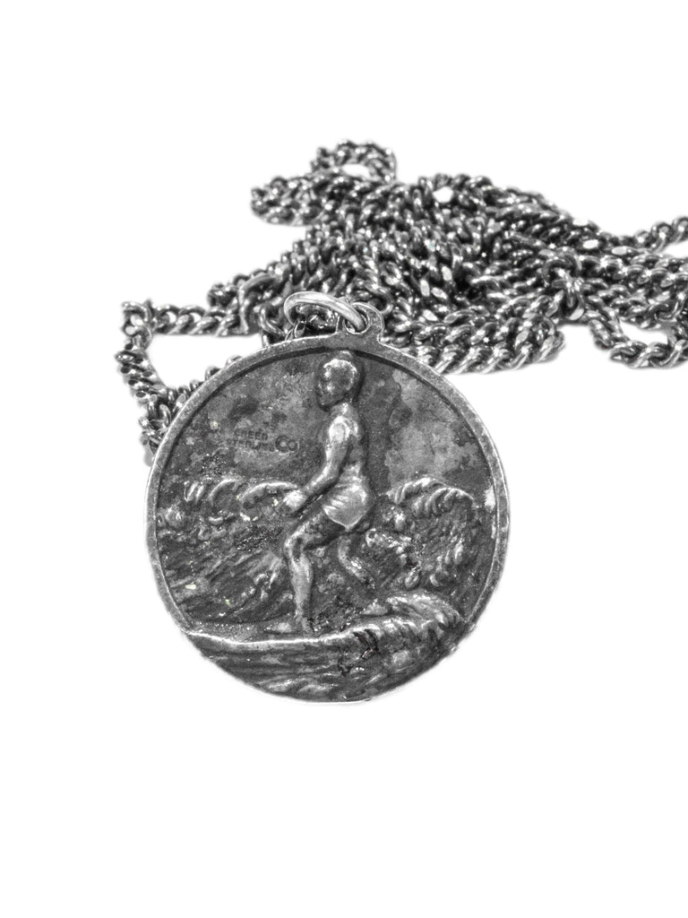 Sterling Silver Vintage 1950's Double-Sided Sterling Silver Surfer Saint Christopher Necklace 224239414025