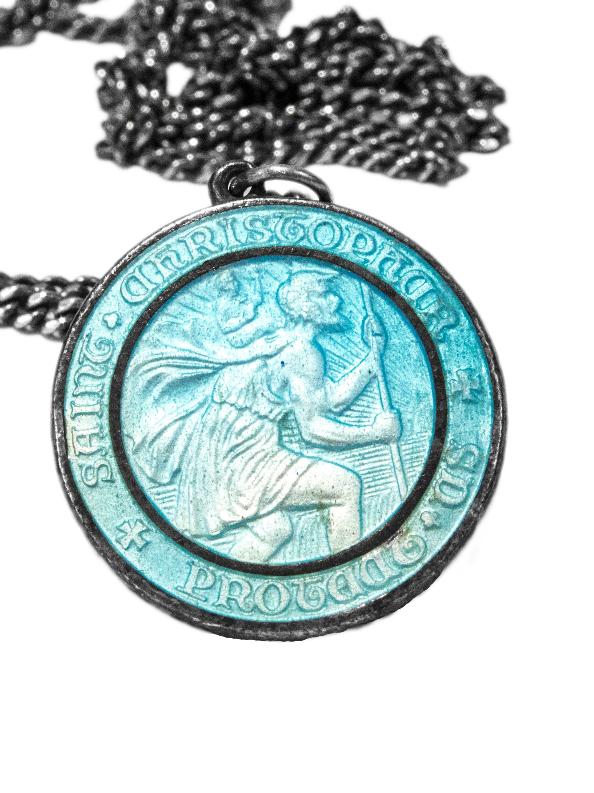 Sterling Silver Vintage 1950's Double-Sided Sterling Silver Surfer Saint Christopher Necklace 3