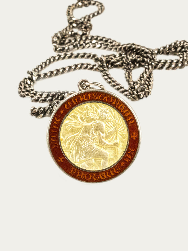 Vintage 1970's Sterling Silver Saint Christopher Necklace