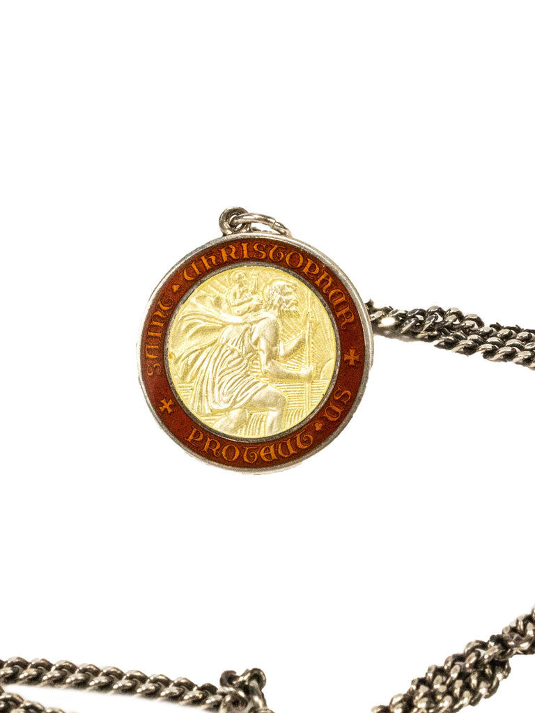Sterling Silver Vintage 1970's Sterling Silver Saint Christopher Necklace 224265089737