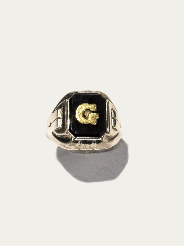 Vintage Sterling Silver and Onyx Signet Ring