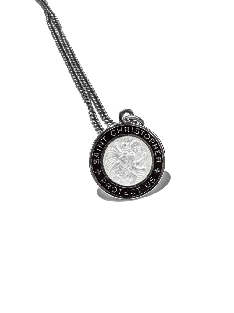 Sterling Silver Vintage Sterling Silver And Enamel Saint Christopher Necklace 324265290889