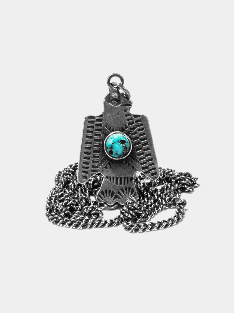 Vintage 1940's Navajo Sterling Silver & Turquoise Thunderbird Pendant