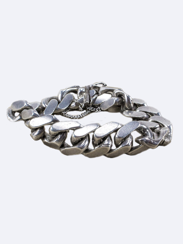 Vintage 1950's .925 Solid Sterling Silver Heavy Gage Curb Chain Bracelet