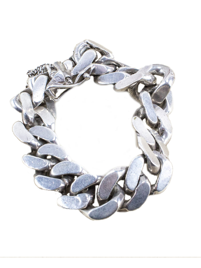 Sterling Silver Vintage 1950's .925 Solid Sterling Silver Heavy Gage Curb Chain Bracelet 2632399888393