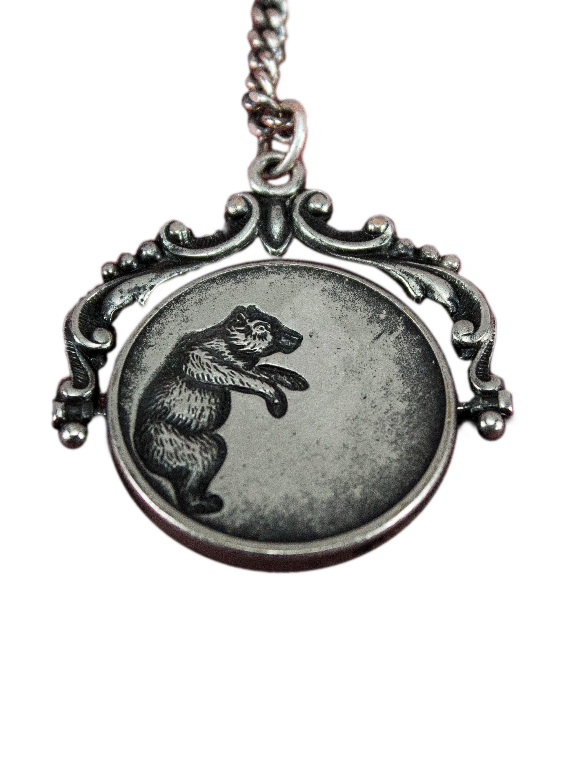 Vintage Victorian Era .925 Sterling Silver Spinning Bear Pendant Necklace