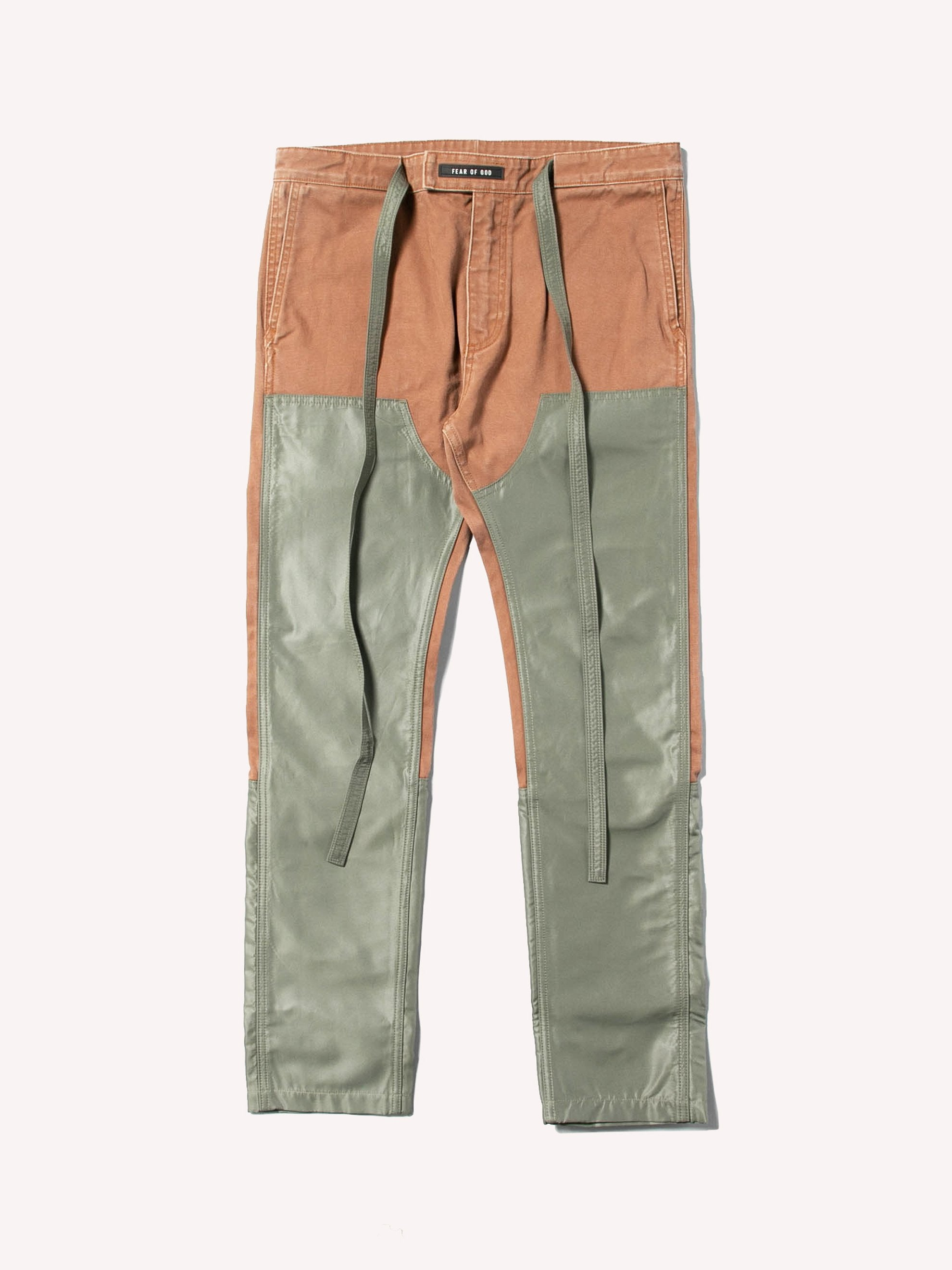 Brick / Army Green Nylon Canvas Double Front Work Pant 1
