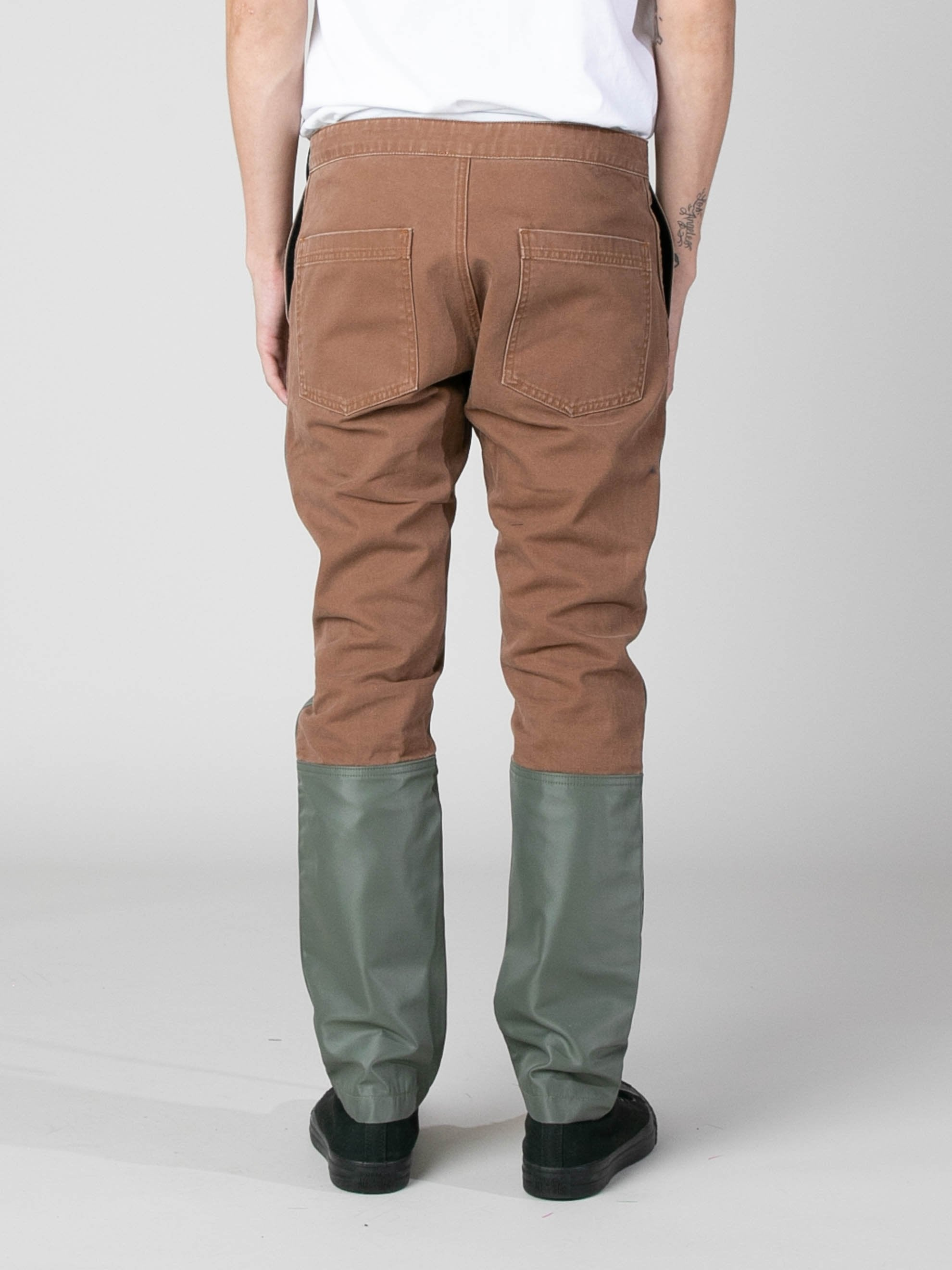 Brick / Army Green Nylon Canvas Double Front Work Pant 5