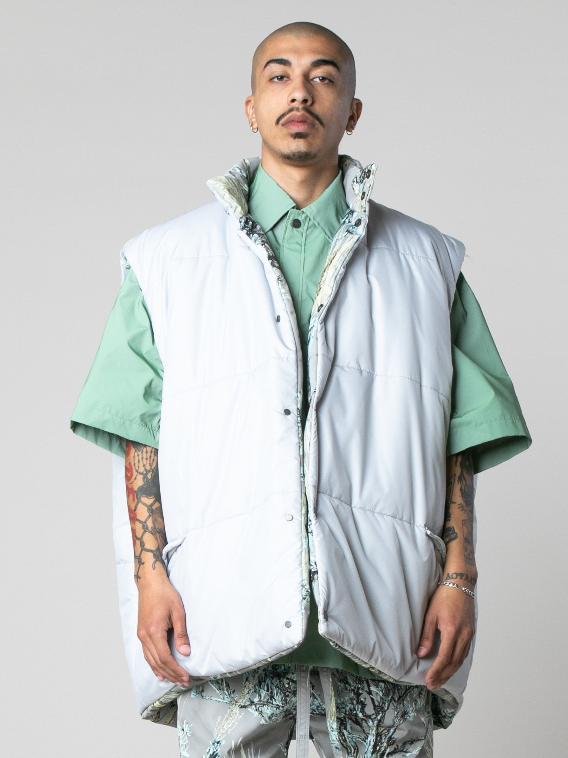 Prairie Ghost Reversible Nylon Oversized Vest 7