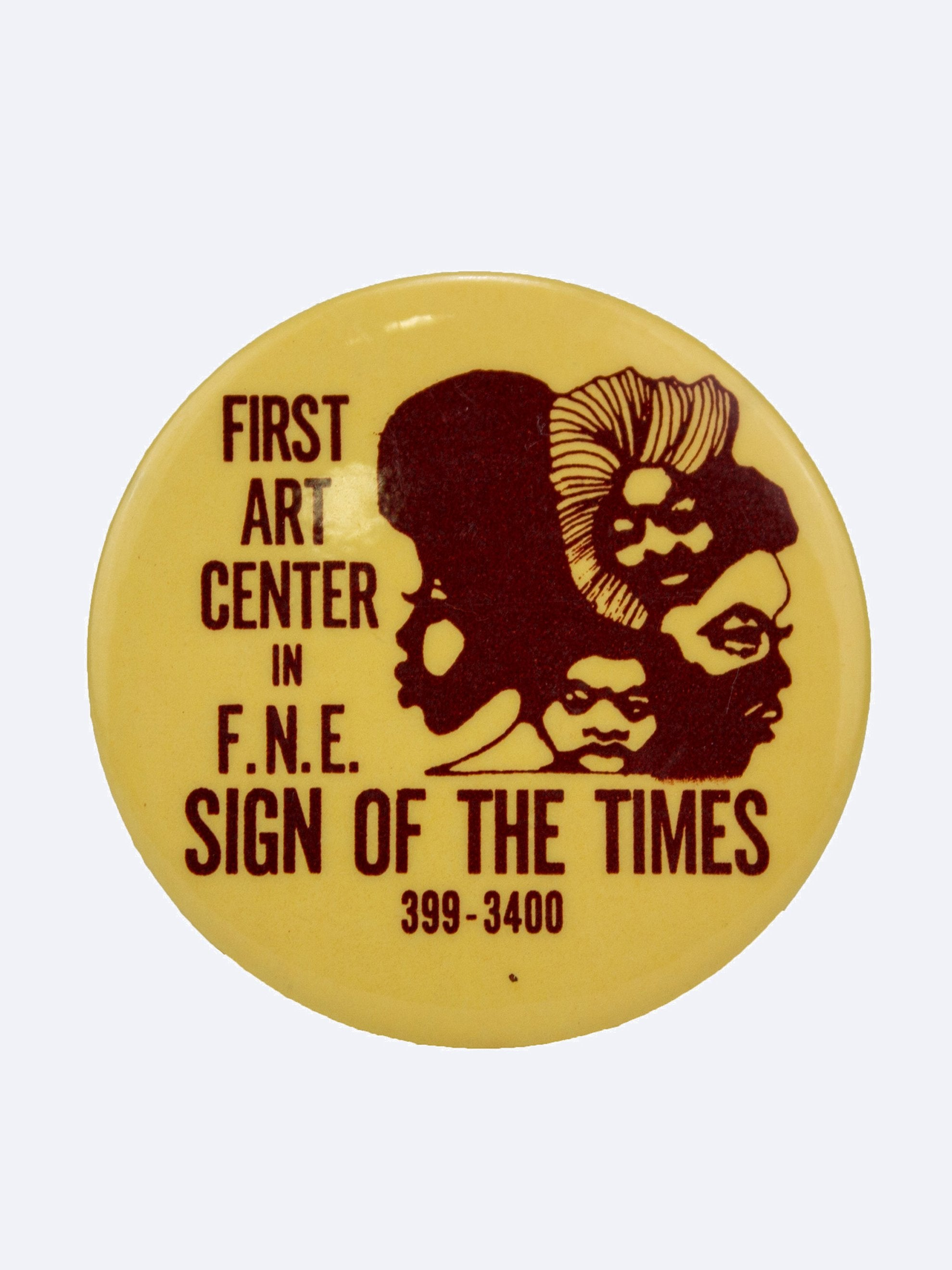 "Yellow/Brown Vintage 1970's Activist Pin ""First Art Center"" 1"