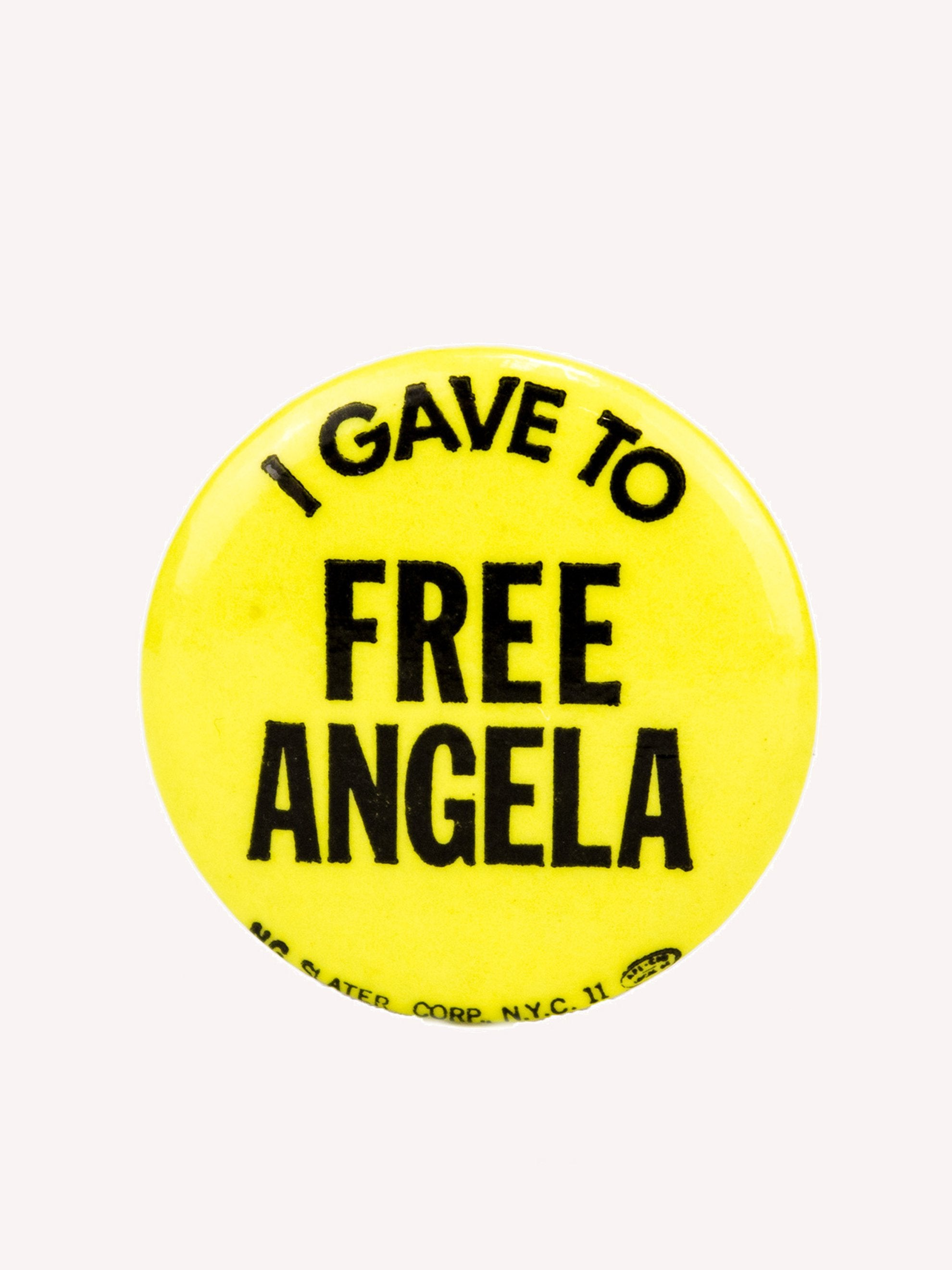"Yellow Vintage 1970's Activist Protest Pin ""I Gave To Free Angela"" 1"