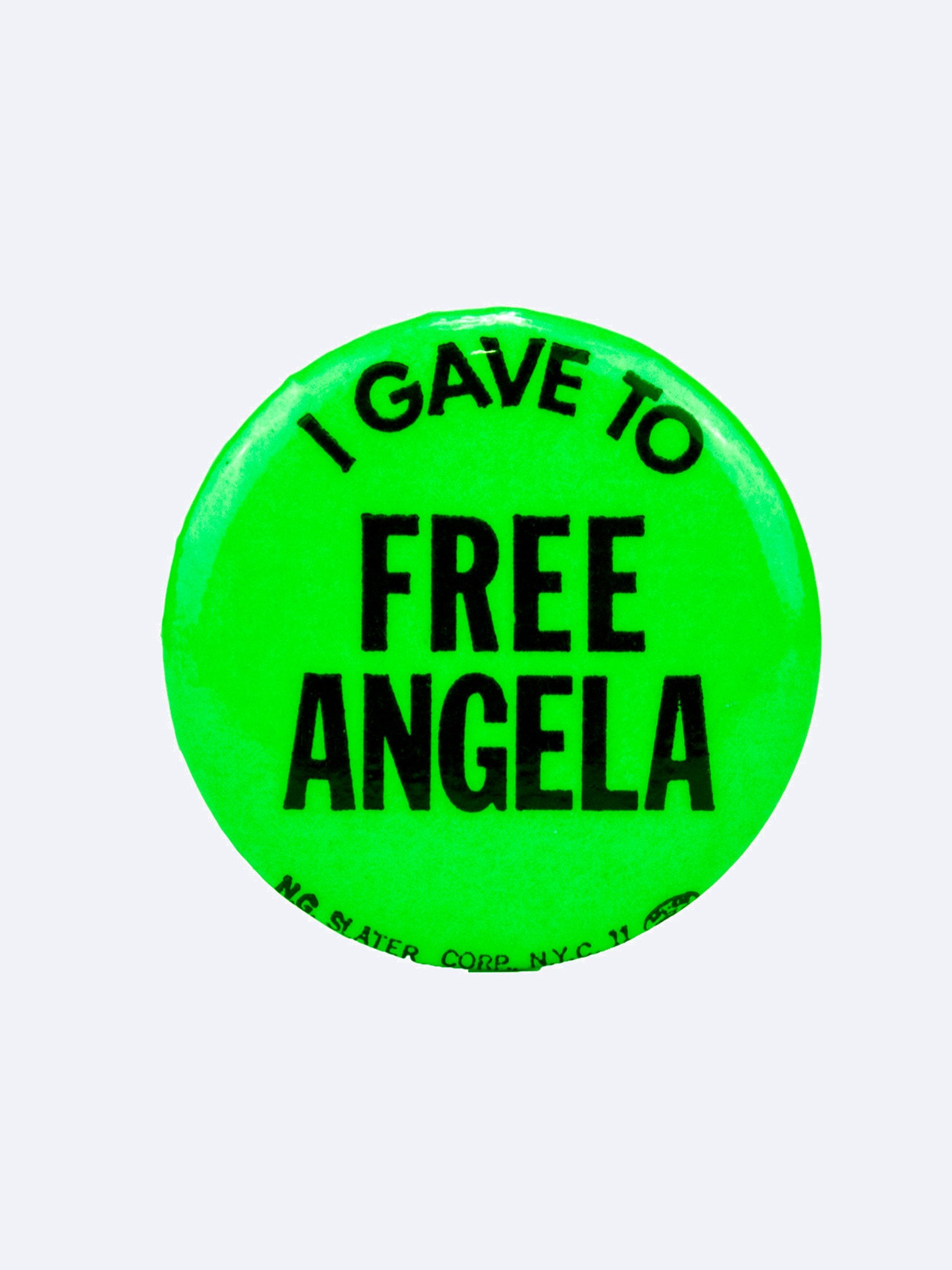 "Neon Green Vintage 1970's Activist Protest Pin ""I Gave To Free Angela"" 1"