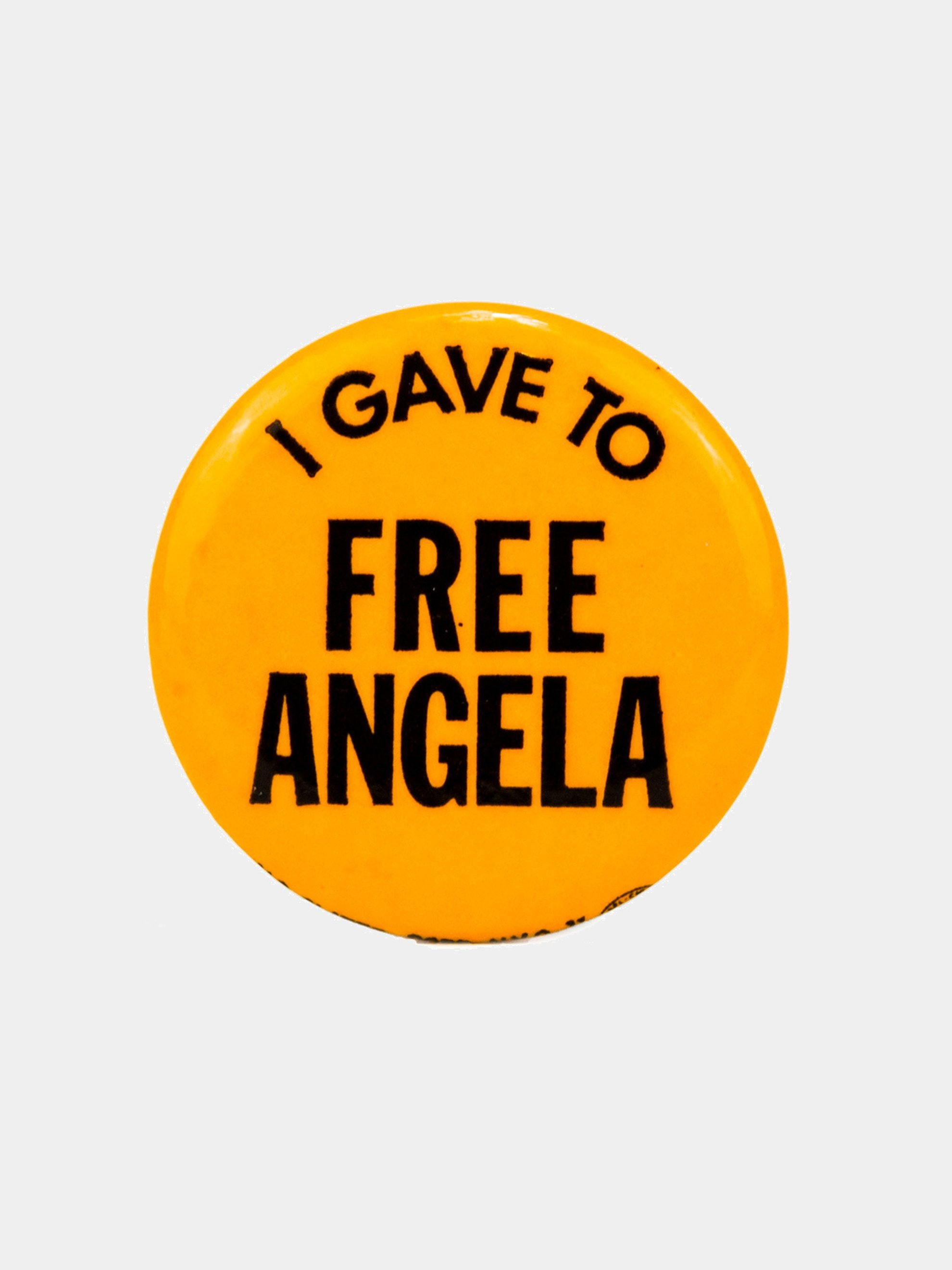 "Dark Yellow Vintage 1970's Activist Protest Pin ""I Gave To Free Angela"" 1"