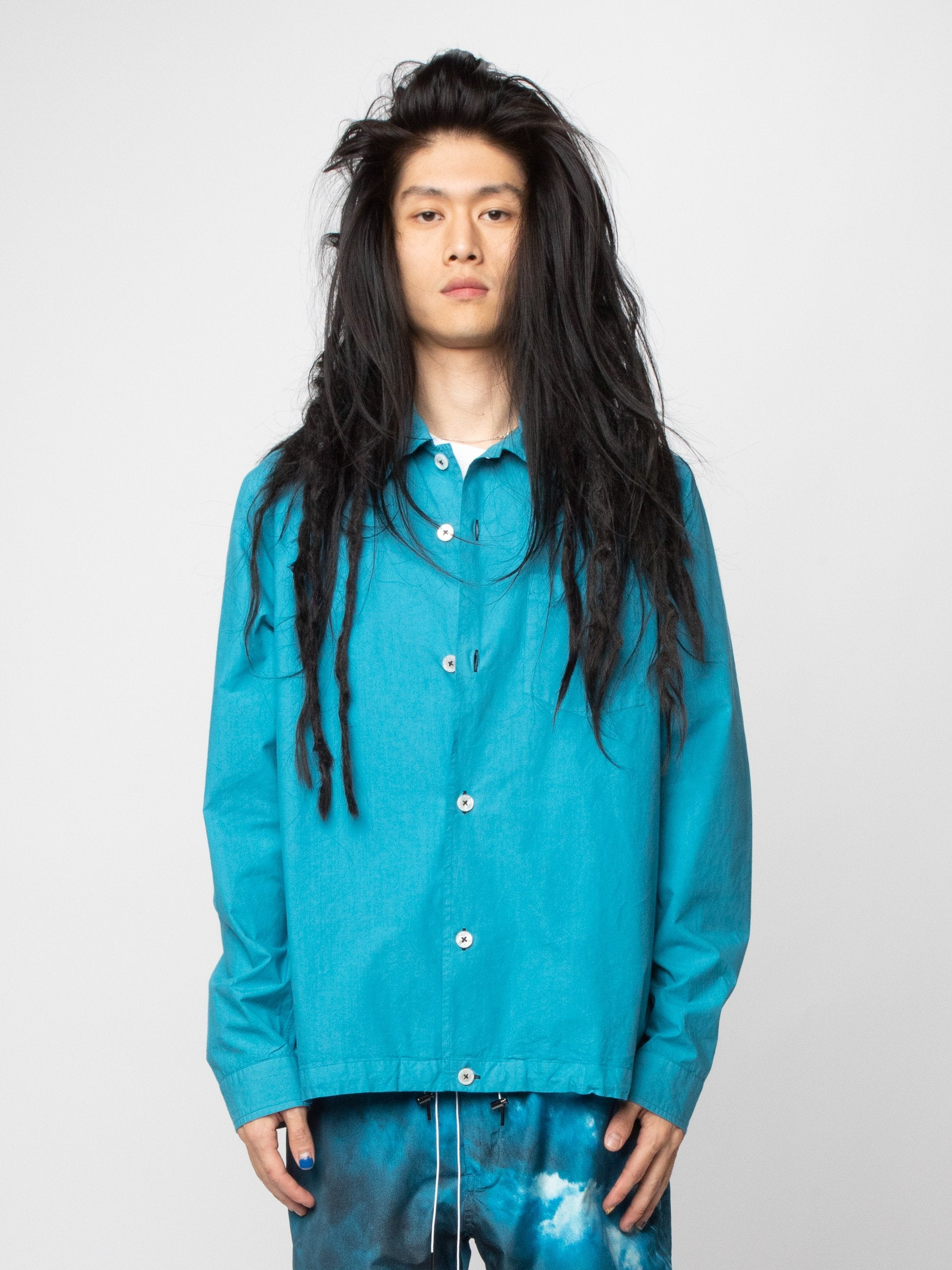 Blue/Green Button Silk Blend Blouson 2