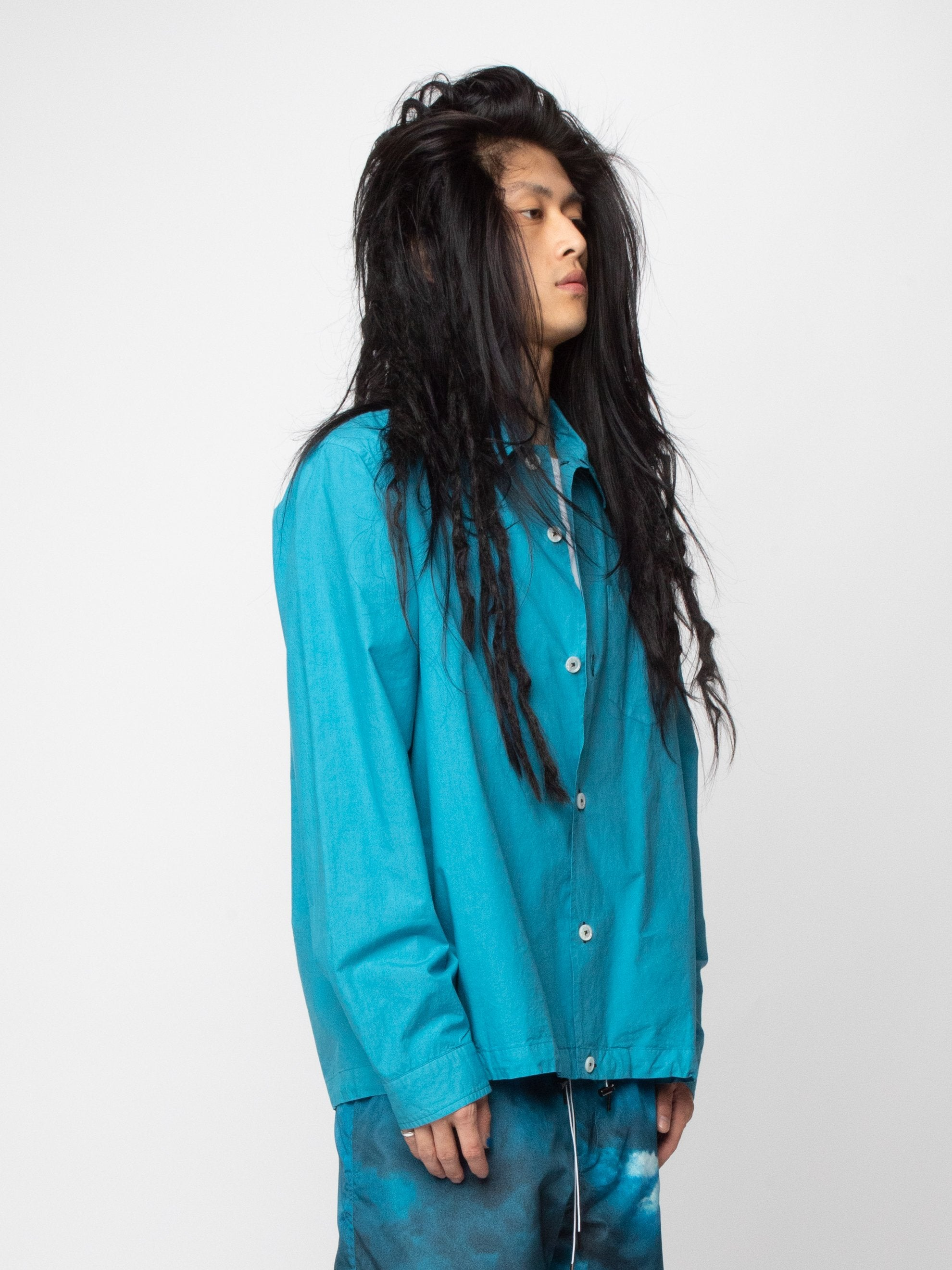 Blue/Green Button Silk Blend Blouson 4
