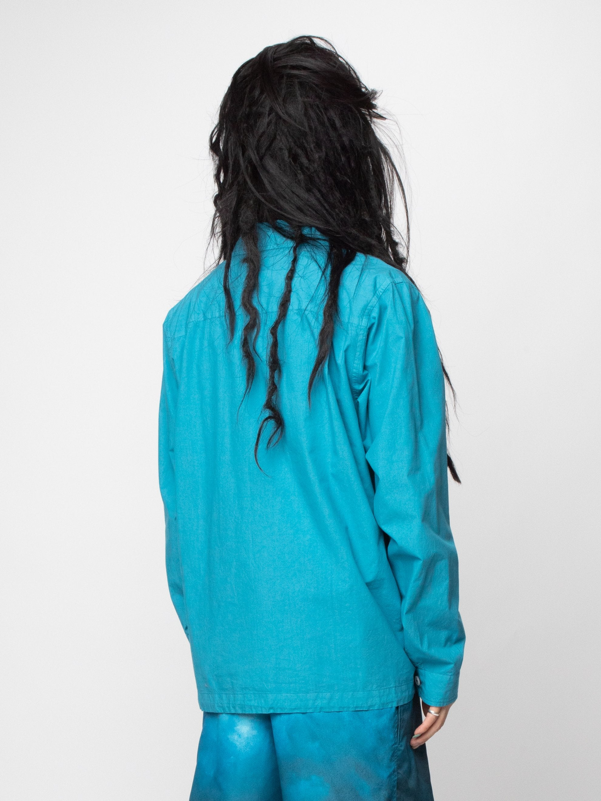 Blue/Green Button Silk Blend Blouson 5